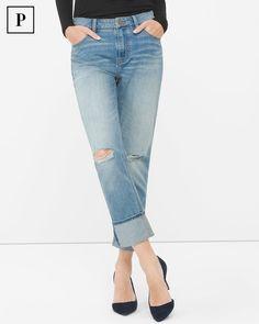 Petite Destructed Boyfriend Jeans