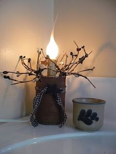 Making tin can into light.A Hole in the Basket Primitives: Trashy Thursday Tutorial included Primitive Country Crafts, Primitive Candles, Primitive Homes, Primitive Christmas, Christmas Crafts, Country Christmas, Primitive Pillows, Primitive Patterns, Primitive Snowmen