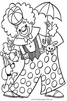 Circus & Clowns color page. Miscellaneous coloring pages. Coloring pages for kids. Thousands of free printable coloring pages for kids! Clown Crafts, Circus Crafts, Animal Coloring Pages, Coloring Book Pages, Free Coloring, Coloring Pages For Kids, Kids Coloring, Circus Activities, Relaxing Art