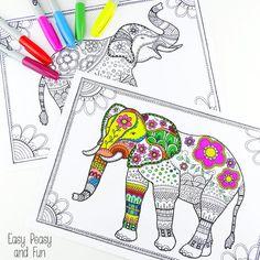 Imprime este elefante abstracto y llénalo de colores vivos. | 12 Geniales plantillas gratuitas para que los adultos coloreen y se relajen