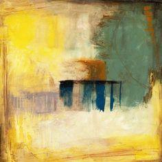 "Yellow Abstract Art - ""Aquamarine Aura I"" wall art by Jennifer Goldberger available at Great BIG Canvas."