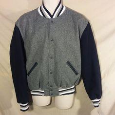 NEW Original Holloway Varsity Jacket Navy Blue/Gray USA MADE Wool Blend SAVE $-M #Holloway #VarsityBaseball