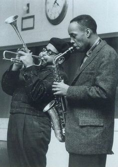"Dizzy Gillespie and Sonny Stitt; could be from the legendary ""For Musicians Only"" session. Jazz Artists, Jazz Musicians, Music Artists, Blues Artists, Smooth Jazz, Good Music, My Music, Early Music, Music Stuff"