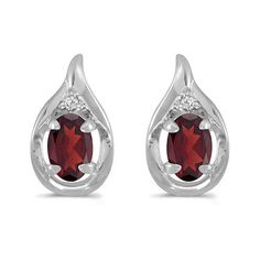 14K White Gold Oval Garnet and Diamond Earrings (1ct tgw)