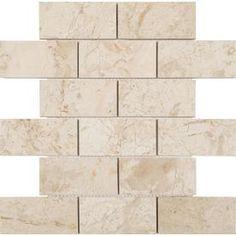 Anatolia Tile Marfil Polished Brick Mosaic Marble Subway Common 12 In X