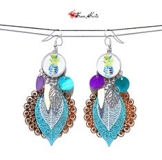 Your place to buy and sell all things handmade Hippie Chic, Boho Chic, Filigree Earrings, Drop Earrings, Turquoise And Purple, Blue, Ear Piercings, Pineapple, Creations