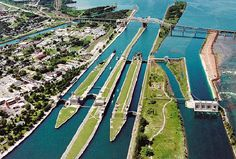 Soo Locks Sault Ste. Marie Michigan. Michigan on one side of river and Canada on the other.