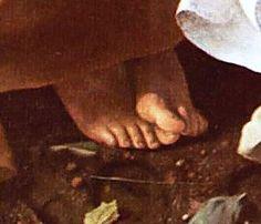 Nel RIPOSO DURANTE LA FUGA IN EGITTO San Giuseppe, stravolto dalla fatica, si massaggia i piedi mentre regge lo spartito dell'angelo. Vorrebbe tanto riposare anche lui, ma non può! E' dettaglio più realistico e adorabile del dipinto... www.facebook.com/Caravaggiosegreto