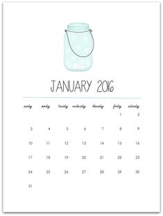 Click here to download and print the FREEmason jar calendar page printable for January 2016.  I'm starting the year off with a FREE calendar printable for you, featuring a mason jar of course. With snowflakes because … well … January is winter. Well, winter here in the Midwest. And I guess winter everywhere else, …