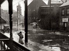 """June 1941. """"Rain. Pittsburgh, Pennsylvania."""""""