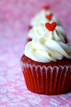 Red Velvet Cupcakes (pipe icing onto cupcakes and top with cute heart)