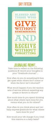 Day 15: Give without remembering; Receive without forgetting