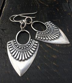 Silver Tribal Earrings Antique Silver Hoop by KarenTylerDesigns