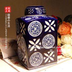 blauw en wit porselein vierkante opslag tank algemene orde ambachten keramische vaas home decoratie accessoires