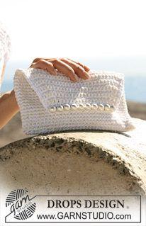 """DROPS crochet evening bag in """"Cotton Viscose"""" and """"Bomull-Lin"""". ~ DROPS Design ༺✿ƬⱤღ  https://www.pinterest.com/teretegui/✿༻"""