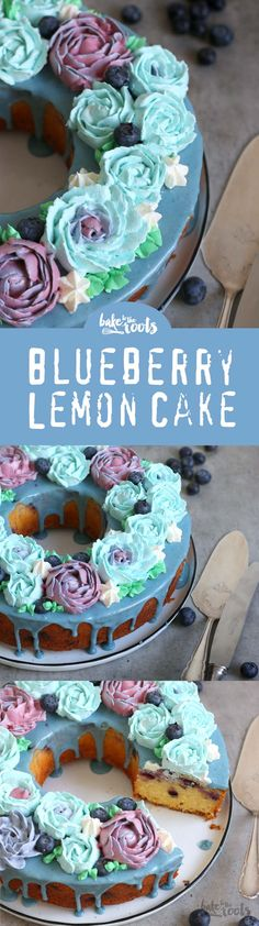 Delicious cake with lemon and blueberry, topped with a nice amount of buttercream flowers - really easy to make | Bake to the roots