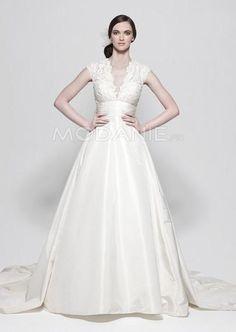 Traîne chapelle robe de mariée classique satin longueur au sol dentelle [#M1408136671] - modanie