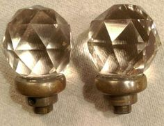 #antique 2 Vintage Glass Crystal Ball Door knobs Center Prism,~Rare please retweet