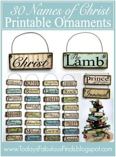 Printable ornaments names of Christ - made with paint sticks