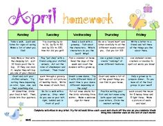 Cute Idea To Have Fun Homework During Holiday Breaks Monthly