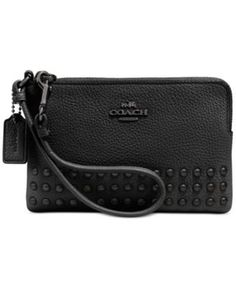 COACH CORNER ZIP WRISTLET IN LACQUER RIVETS PEBBLE LEATHER | macys.com