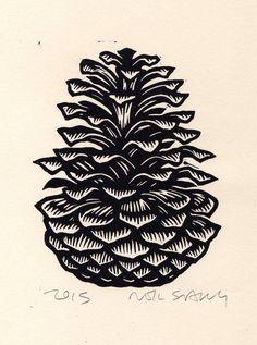 Lino Art, Linoleum Block Printing, Linoprint, Guache, Art Decor, Decoration, Room Decor, Winter Art, Winter Snow