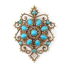Antique Style Turquoise Brooch - 50-1-2718 - Lang Antiques
