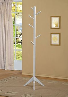White Finish Coat Rack Hall Tree Purse Jacket by Phuchema * Click image for more details.