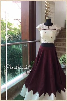 Beautiful wine color lehenga and white color xrop top. Crop top with hand embroidery thread work. 30 May 2018 Fancy Blouse Designs, Choli Designs, Lehenga Designs, New Dress Design Indian, Indian Designer Wear, Summer Fashion Outfits, Fashion Dresses, Simple Lehenga, Indian Gowns