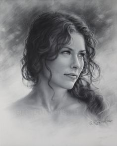 Realistic Portrait Drawing Evangeline Lilly Drawing by Dry Brush by Drawing-Portraits - Portrait Sketches, Pencil Portrait, Female Portrait, Portrait Art, Female Art, Art Sketches, Drawing Portraits, Color Portrait, Woman Portrait