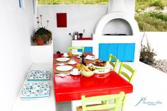 santorini, akrotiri, private villa, summer, colors, traditional architecture