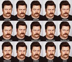 Funny pictures about The Many Faces of Ron Swanson. Oh, and cool pics about The Many Faces of Ron Swanson. Also, The Many Faces of Ron Swanson photos. Parks And Recreation, Ernest Hemingway, Parks And Recs, Nick Offerman, My Demons, Just For Laughs, Best Shows Ever, Laugh Out Loud, Laugh Laugh