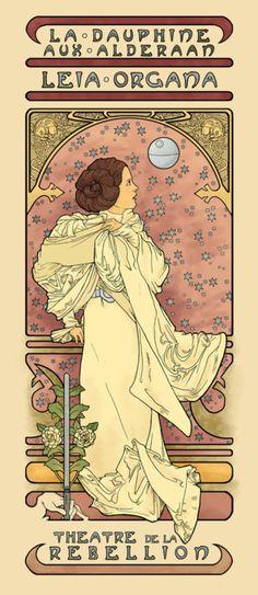 "Princess Leia spoof of Alphonse Mucha's ad for ""La Dame Aux Camilas"" featuring Sarah Bernhardt. Love it!! :)"