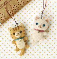felt wool White and Tiger Cat Charm