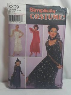Women's Costume Angel Devil Vampire Sorceress Witch Sewing Pattern Simplicity #9309 Misses Size 6-12 Uncut Halloween by KathleenNCo on Etsy