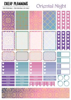 Free Oriental Nights Planner Stickers from Cheap Planning