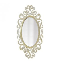 WOODEN WALL MIRROR IN GOLDEN_WHITE COLOR 90X45