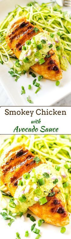Smokey Chicken with Avocado Sauce - This easy to make dinner is gluten free and has a dairy free/ Paleo option! #GlucernaHungerSmart #ad
