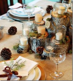Like the Aspen look.  Could use anywhere, not just on the table.  She also suggests using different size wrapped packages on the table.  Cut idea.  Love her blog.