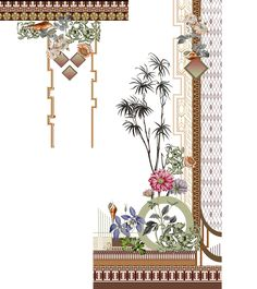 Textile Prints, Textile Patterns, Textile Design, Print Patterns, Floral Prints, Textiles, Border Embroidery Designs, Couture Embroidery, Ornaments Design