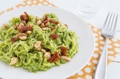 Spaghetti Squash with Garlicky Kale Pesto and Sun-Dried Tomatoes