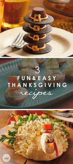 These 3 fun and easy Thanksgiving recipes  from Hallmark, including Reese's Peanut Butter Cup Pilgrim Hats, a Turkey-Shaped Cheese Ball, and Roasted Potato Mayflower Ships, are just too cute. Share these must-try dishes with your holiday guests!