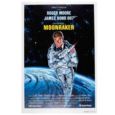 Original Vintage James Bond Poster by Daniel Goozee for the 007 Movie, Moonraker | From a unique collection of antique and modern posters at https://www.1stdibs.com/furniture/wall-decorations/posters/
