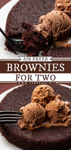Air Fryer Brownies {For Two} are the perfect dessert to share on any occasion and this chocolate treat is made in an air fryer! This easy chocolate dessert recipe is a sure winner! Save this pin for later!