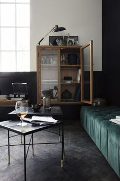 Black herringbone floors