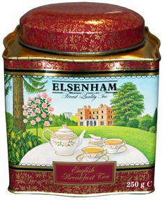 Elsenham English Breakfast Tea tin ... decorated with scene of tea table on lawn of great English country house, c. 1980s-2000s