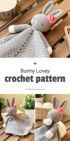 Adorable Sleepy Bunny Lovey is a plush toy and security blanket all in one! The pattern is very easy Crochet Bunny Pattern, Crochet Blanket Patterns, Cute Crochet, Amigurumi Patterns, Crochet Crafts, Crochet Dolls, Crochet Projects, Knitting Patterns, Crochet Baby Toys