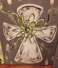 Cross painting on stretched canvas by PerfectedbyGeacw on Etsy, $30.00