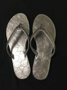 5022a7428ef0 Coach - April - Silver Metallic - Thongs Flip Flops - Size 8 - Significant  Wear in Clothing