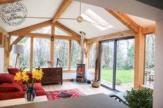 Oak Framed Extension in Cornwall - Built by - Oak framed extension, Cornwall - Bungalow Extensions, Garden Room Extensions, House Extensions, Cottage Extension, House Extension Design, Oak Frame House, A Frame Cabin, Orangerie Extension, Oak Framed Extensions